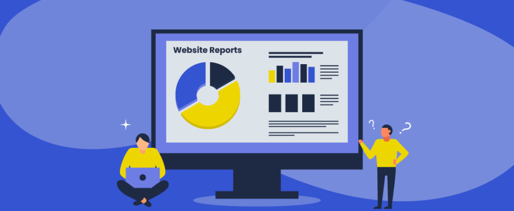 vector illustration of one person sitting with a laptop on her legs and another looking confused at a giant computer screen showing a document with the words Website Reports